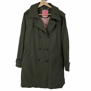 Kate Spade Double Breasted Trench Coat Green Med